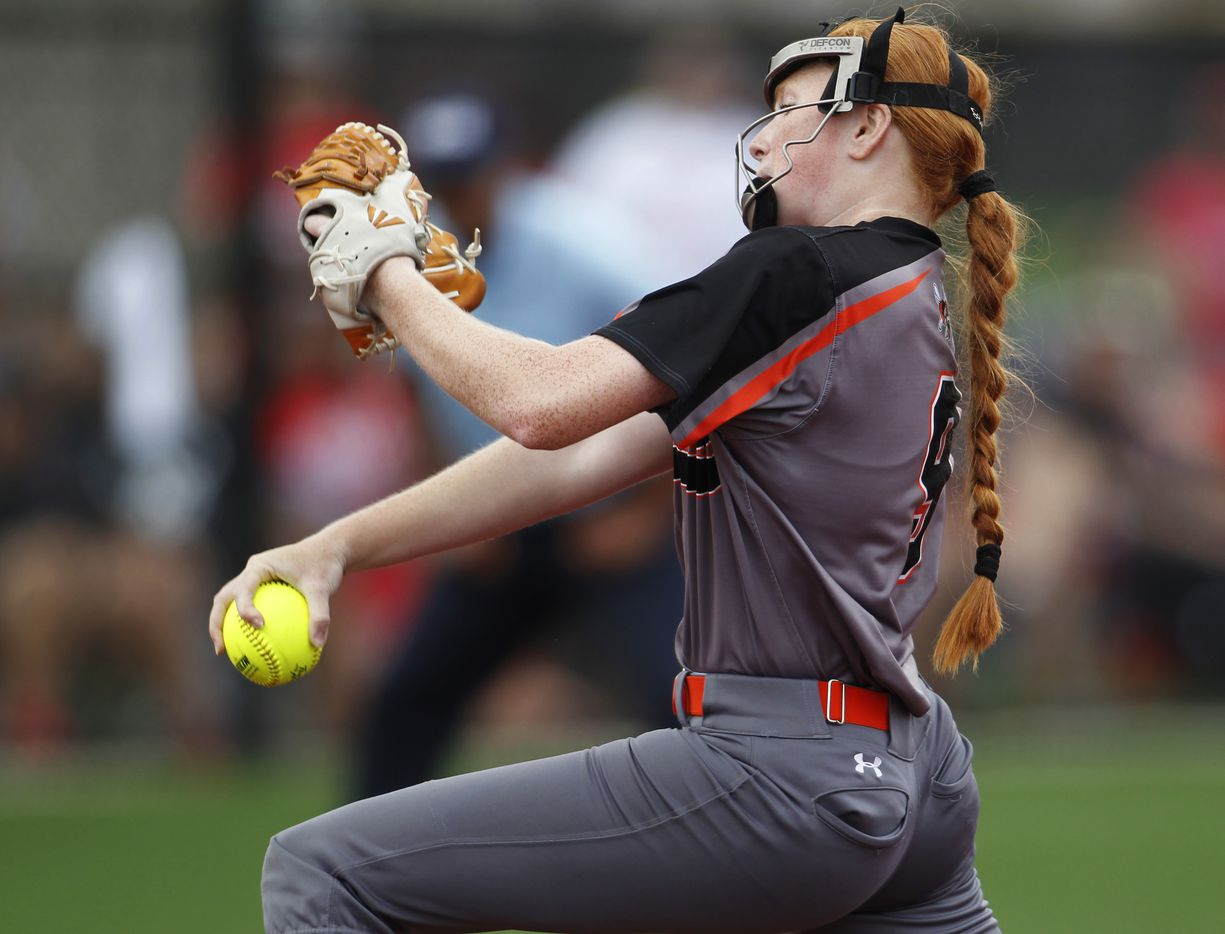 Rockwall pitcher Ainsley Pemberton (9) delivers a pitch to a Converse Judson batter during the bottom of the 3rd inning of play. The two teams played their UIL 6A state softball semifinal game at Leander Glenn High School in Leander on June 4, 2021. (Steve Hamm/ Special Contributor)