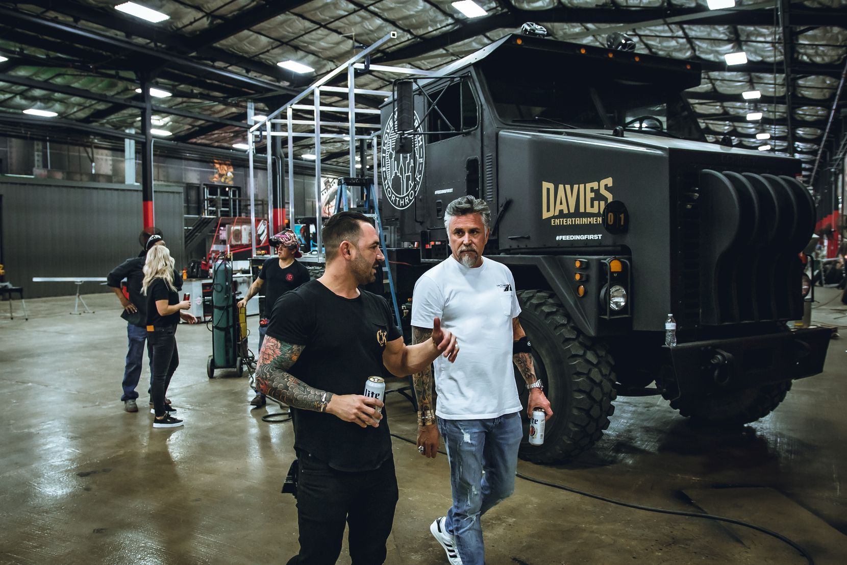 """Richard Rawlings, right, and Cameron Davies, left, met in early 2021. """"I've been a big fan of Richard's and [of] his show,"""" Davies says, speaking of Rawlings' former Discovery Channel TV show Fast N' Loud. The two decided to build a food truck for Rawlings' Gas Monkey Garage."""