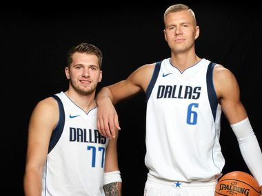 Dallas Mavericks forward Luka Doncic (77) and forward Kristaps Porzingis (6) photographed during media day activities at American Airlines Center on Monday, Sept. 30, 2019, in Dallas.