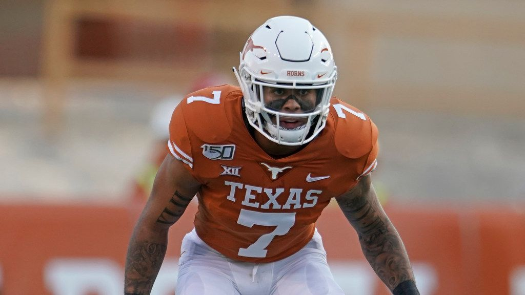 Texas's Caden Sterns (7) lines up against Louisiana Tech during the first half of an NCAA college football game in Austin, Texas, Saturday, Aug. 31, 2019.