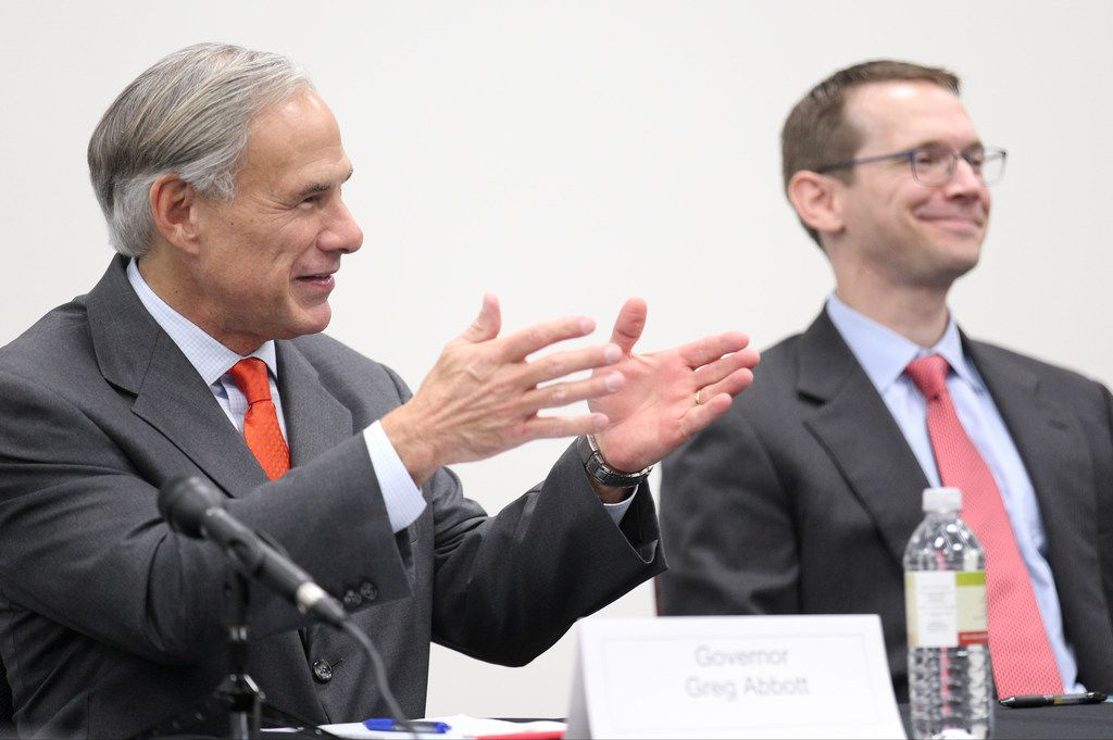 Governor Greg Abbott (left) and Texas Education Agency Commissioner Mike Morath met with teachers and school administrators at Dallas ISD's Solar Preparatory School for Girls on Aug. 21..