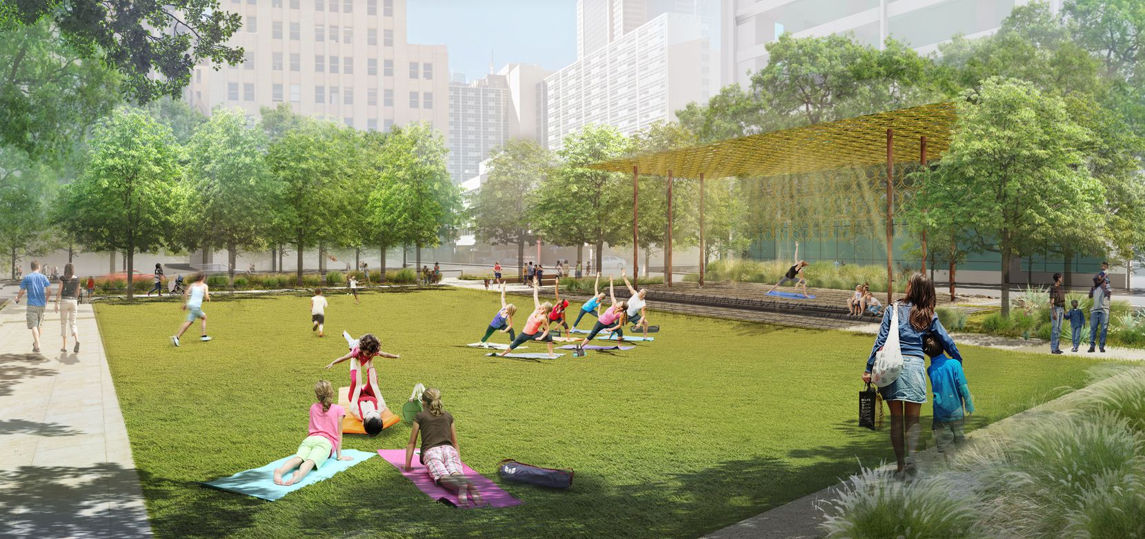 """This rendering shows the """"gold ring"""" shaded pavilion, adjacent to one of Harwood Park's several lawns, which will incorporate the recycled decorative rings from an old parking garage in downtown Dallas."""