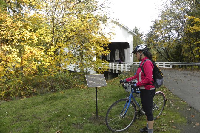 The Dorena covered bridge, a picturesque stop along a bicycle trail, is also a popular backdrop for weddings.