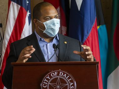 "Dallas Mayor Eric Johnson said Wednesday, May 13, 2020, that it's important to provide testing to vulnerable communities in the city. ""We can't be indifferent to what's happening in our own borders,"" Johnson said. ""We're trying to be responsible to our constituents and use the resources that we have to help fill in gaps and to address equity issues."""