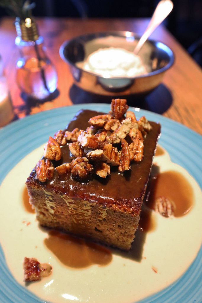 """Whiskey Cake's namesake is a toffee torte """"with a secret ingredient,"""" employees say."""