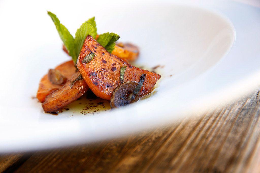 Chef Daniele Puleo prepared Zucca in Agrodolce at CiboDivino Restaurant & Marketplace on Sylvan Ave in Dallas.