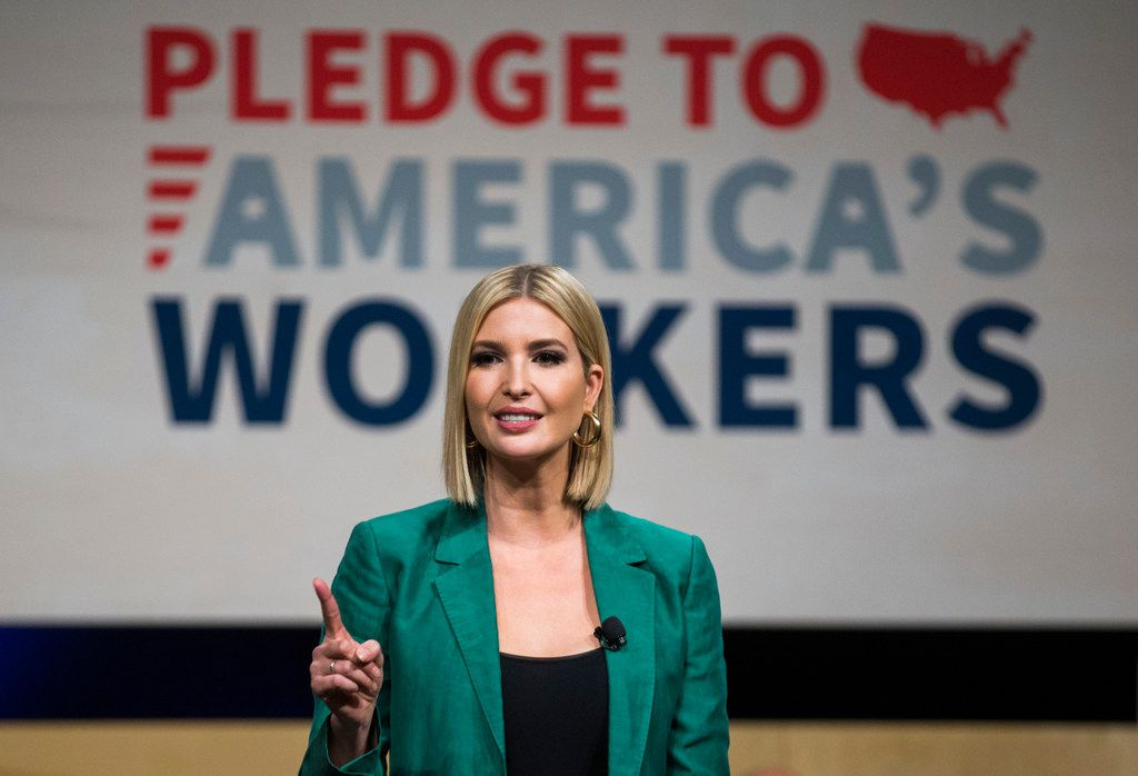 Ivanka Trump, Advisor to the President, speaks before Sundar Pichai, CEO of Google, signed the White HouseÕs Pledge to AmericaÕs Workers with on Thursday, October 3, 2019 at El Centro College in Dallas. Google announced they are expanding their online IT Support Professional Certificate. (Ashley Landis/The Dallas Morning News)