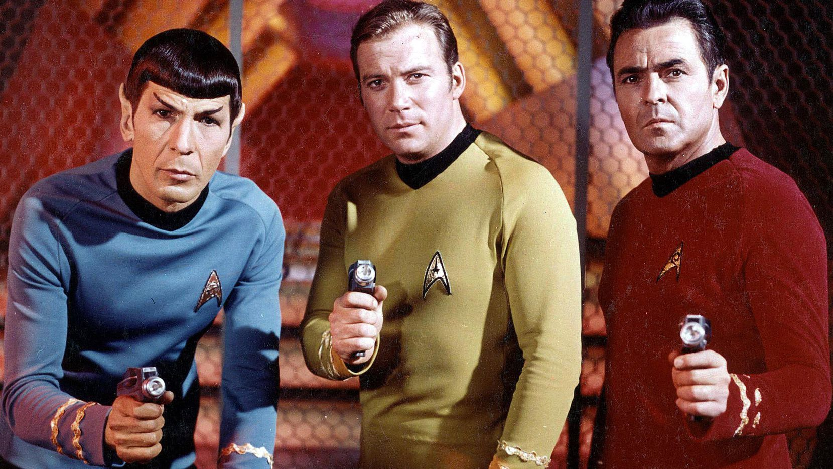"Actors Leonard Nimoy, William Shatner and James Doohan from the original ""Star Trek"" series. The show premiered 50 years ago as one of the new fall shows on NBC's 1966-1967 schedule."