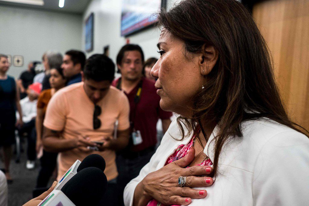 Representative Veronica Escobar (D-TX) answers questions after a press briefing, following a mass fatal shooting, at the El Paso Regional Communications Center in El Paso, Texas, on August 3, 2019. - A gunman armed with an assault rifle killed 20 people Saturday when he opened fire on shoppers at a packed Walmart store in the latest mass shooting in the United States. (Photo by Joel Angel JUAREZ / AFP)JOEL ANGEL JUAREZ/AFP/Getty Images
