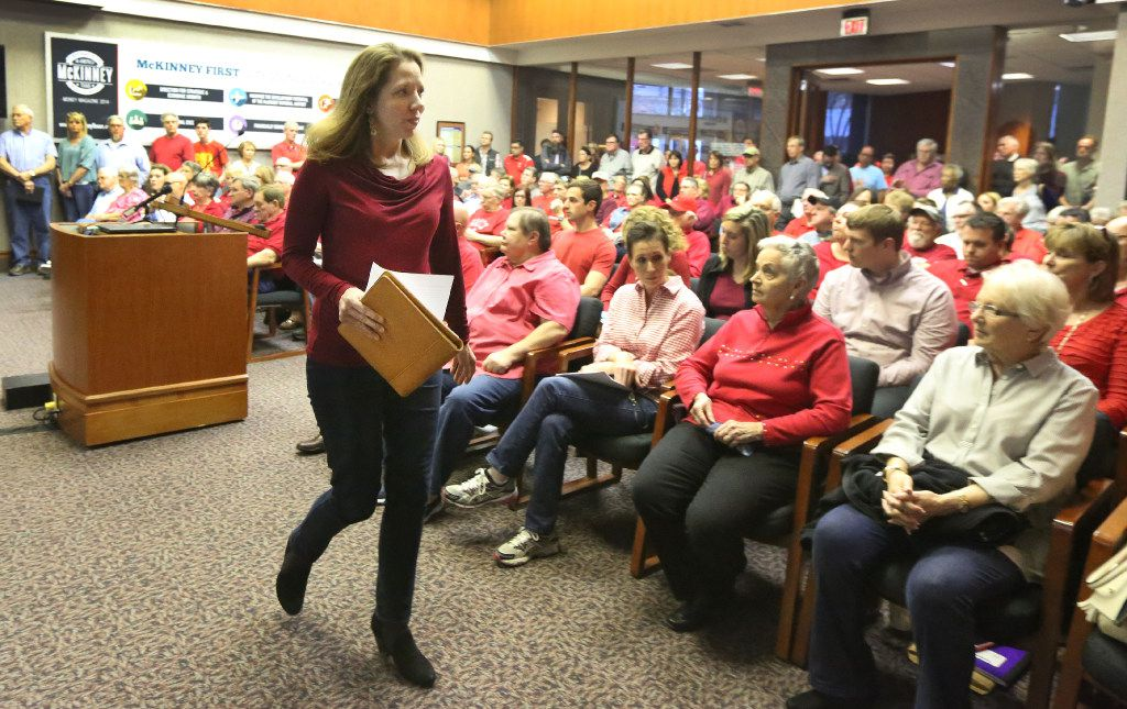 Collin County resident Stephanie Weyenberg speaks to the McKinney City Council to oppose the U.S. Highway 380 bypass on Feb. 21, 2017, in McKinney.