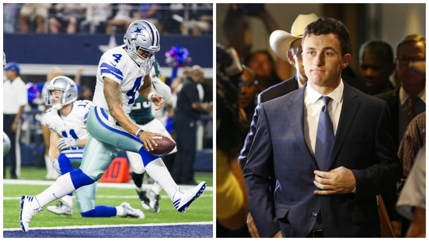 Left, Cowboys QB Dak Prescott rushes for a touchdown against the Eagles (Smiley Pool/The Dallas Morning). Right, former Browns QB Johnny Manziel makes a court appearance (Vernon Bryant/The Dallas Morning News).