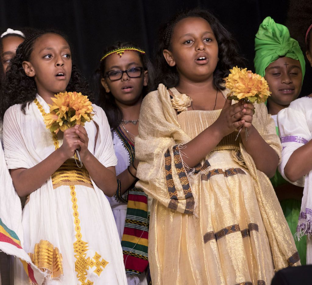 Children dressed in traditional Ethiopian outfits perform during Ethiopia Day 2016.