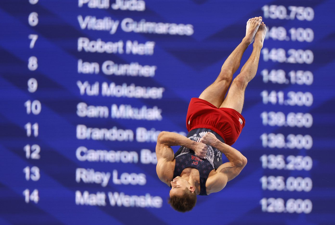 Sam Mikulak competes in the floor exercise during day 2 of the men's 2021 U.S. Olympic Trials at America's Center on Saturday, June 26, 2021 in St Louis, Missouri.(Vernon Bryant/The Dallas Morning News)