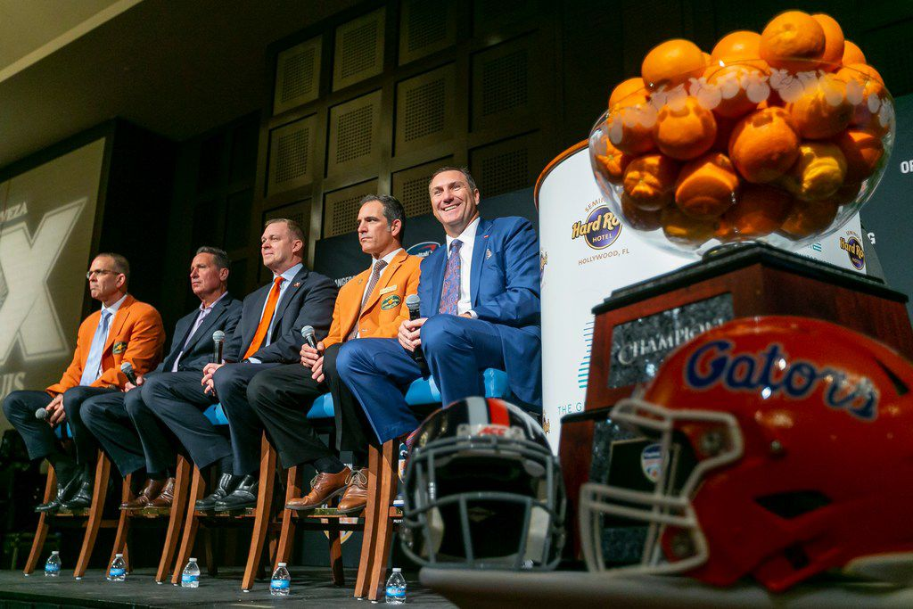 The 2019 Orange Bowl trophy on display during a press conference between Florida Gators head coach Dan Mullen and Virginia Cavaliers head coach Bronco Mendenhall at the Hard Rock Hotel in Hollywood, Florida on Wednesday, December 11, 2019. (Matias J. Ocner/Miami Herald/TNS)