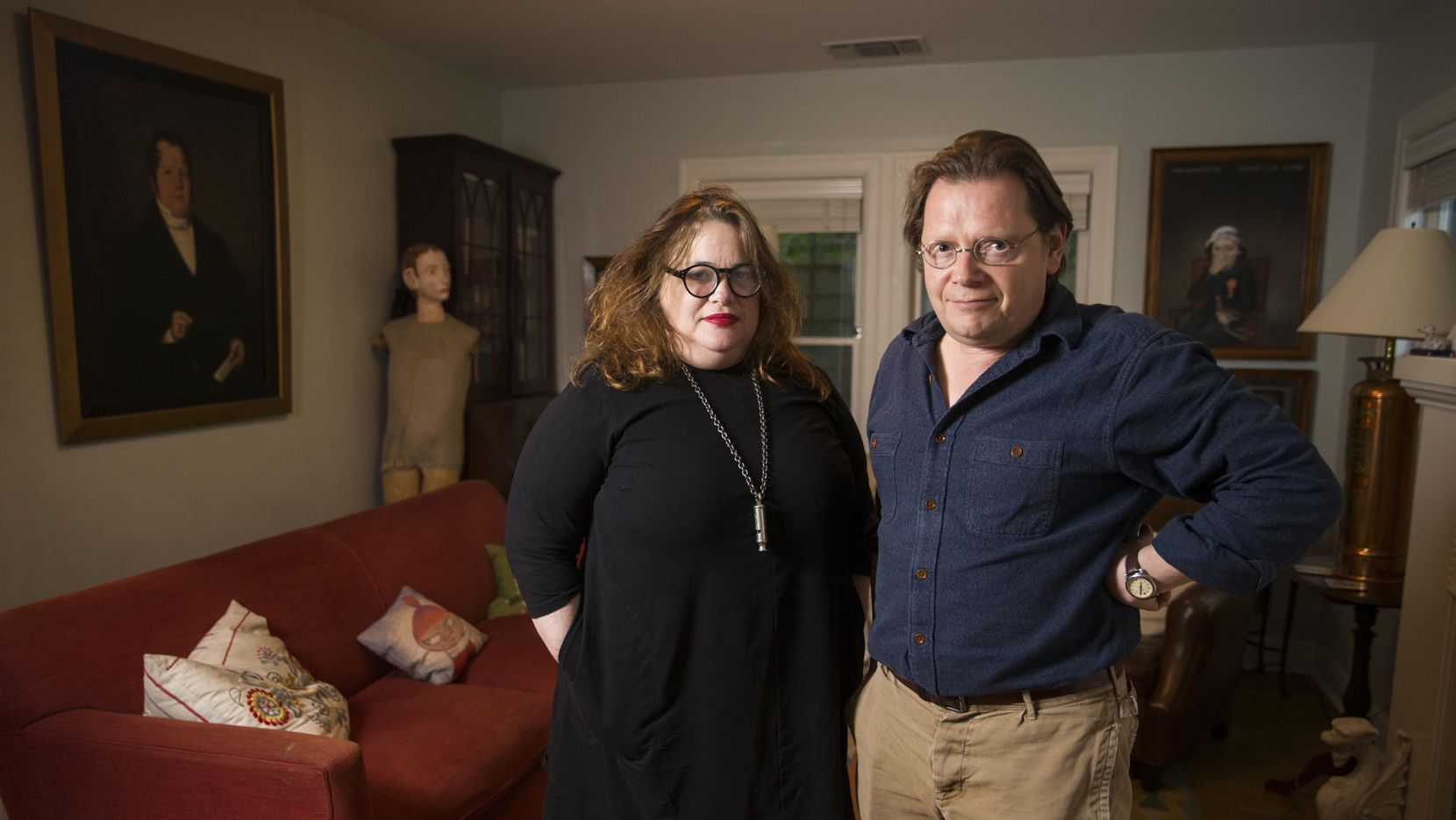 Authors and spouses Elizabeth McCracken and Edward Carey pose for a portrait in their home on April 25, 2019 in Austin.