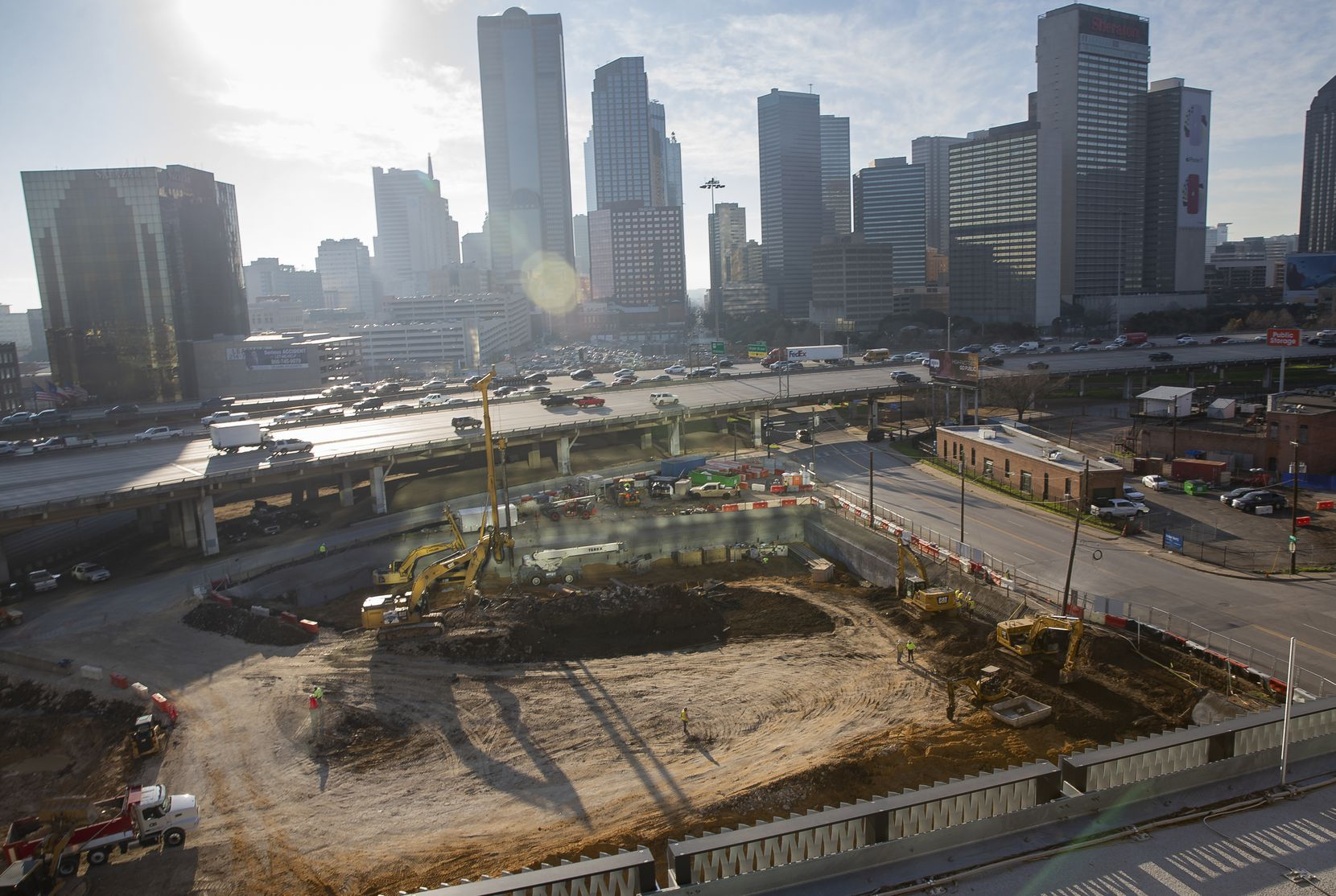 Construction on Uber's new corporate office could be seen from the company's current Deep Ellum office on Jan. 27, 2020, in Dallas.