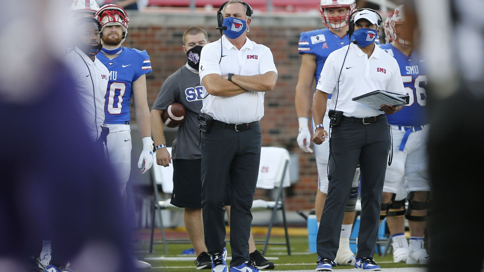 Southern Methodist Mustangs head coach Sonny Dykes on the sidelines during a game against the Stephen F. Austin Lumberjacks during the first half of their home opener at Ford Stadium in Dallas, on Saturday, September 26, 2020. (Vernon Bryant/The Dallas Morning News)