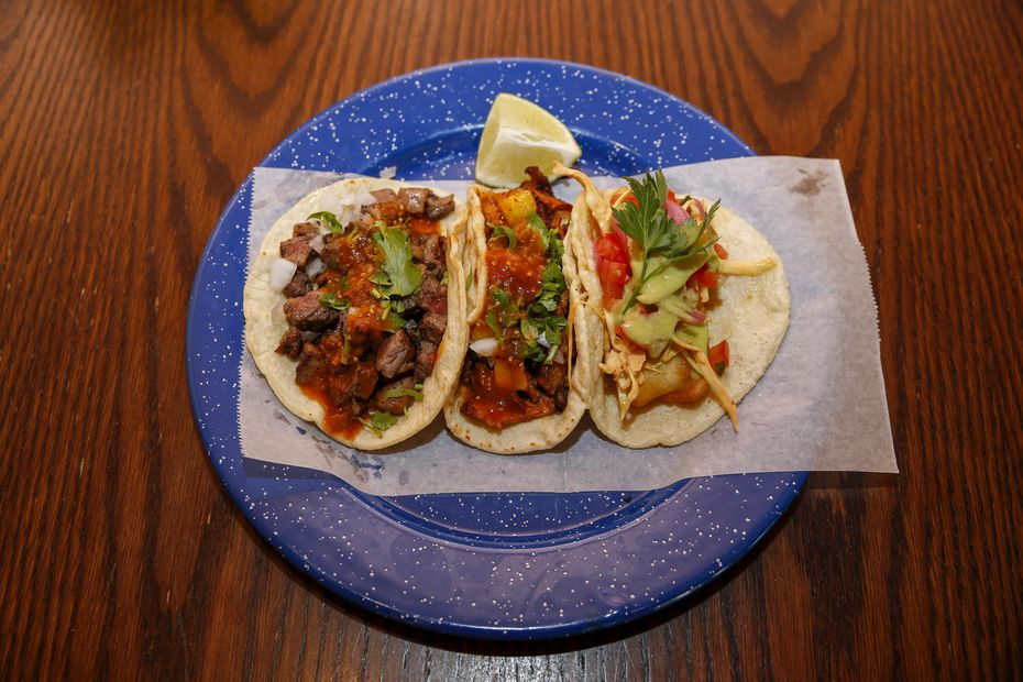 A trio of tacos at Revolver Taco Lounge were photographed June 24, 2021, just after the restaurant opened in Fort Worth.