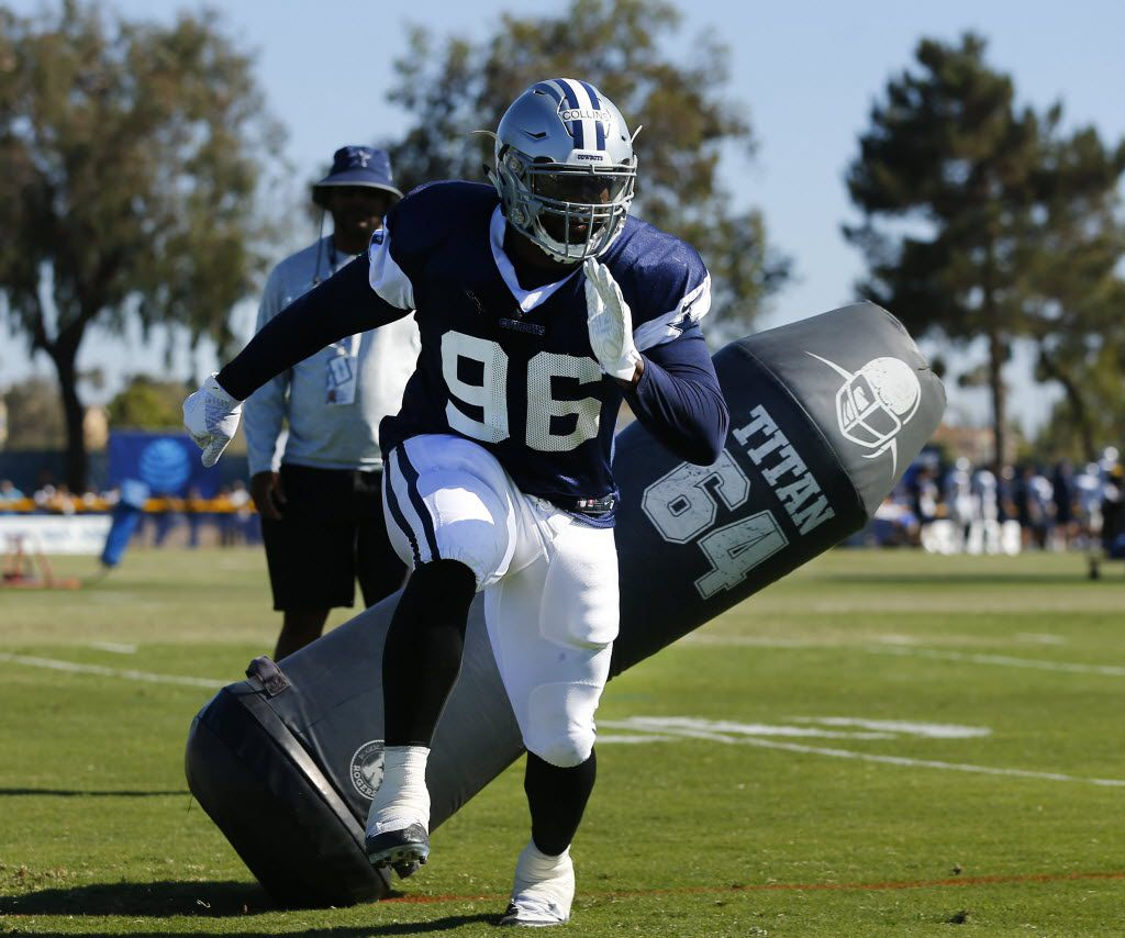 Dallas Cowboys defensive tackle Maliek Collins (96) cuts past a blocking dummy during afternoon practice drills at training camp in Oxnard, California, Monday, August 15, 2016. (Tom Fox/The Dallas Morning News)