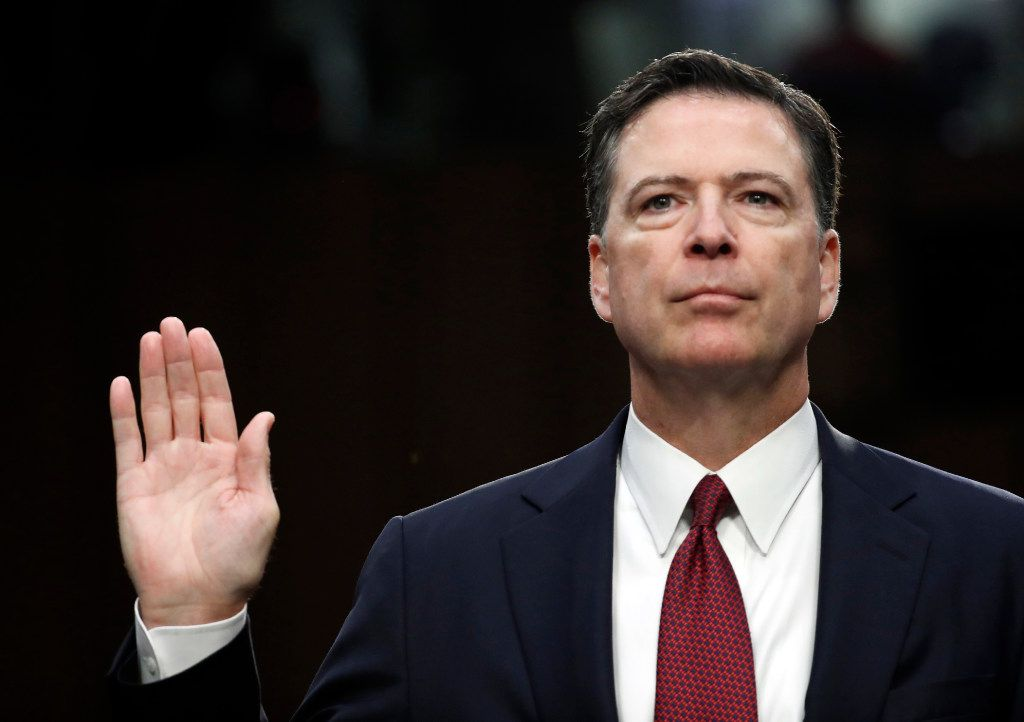 Former FBI director James Comey is sworn in during a Senate Intelligence Committee hearing on Capitol Hill, Thursday, June 8, 2017, in Washington.