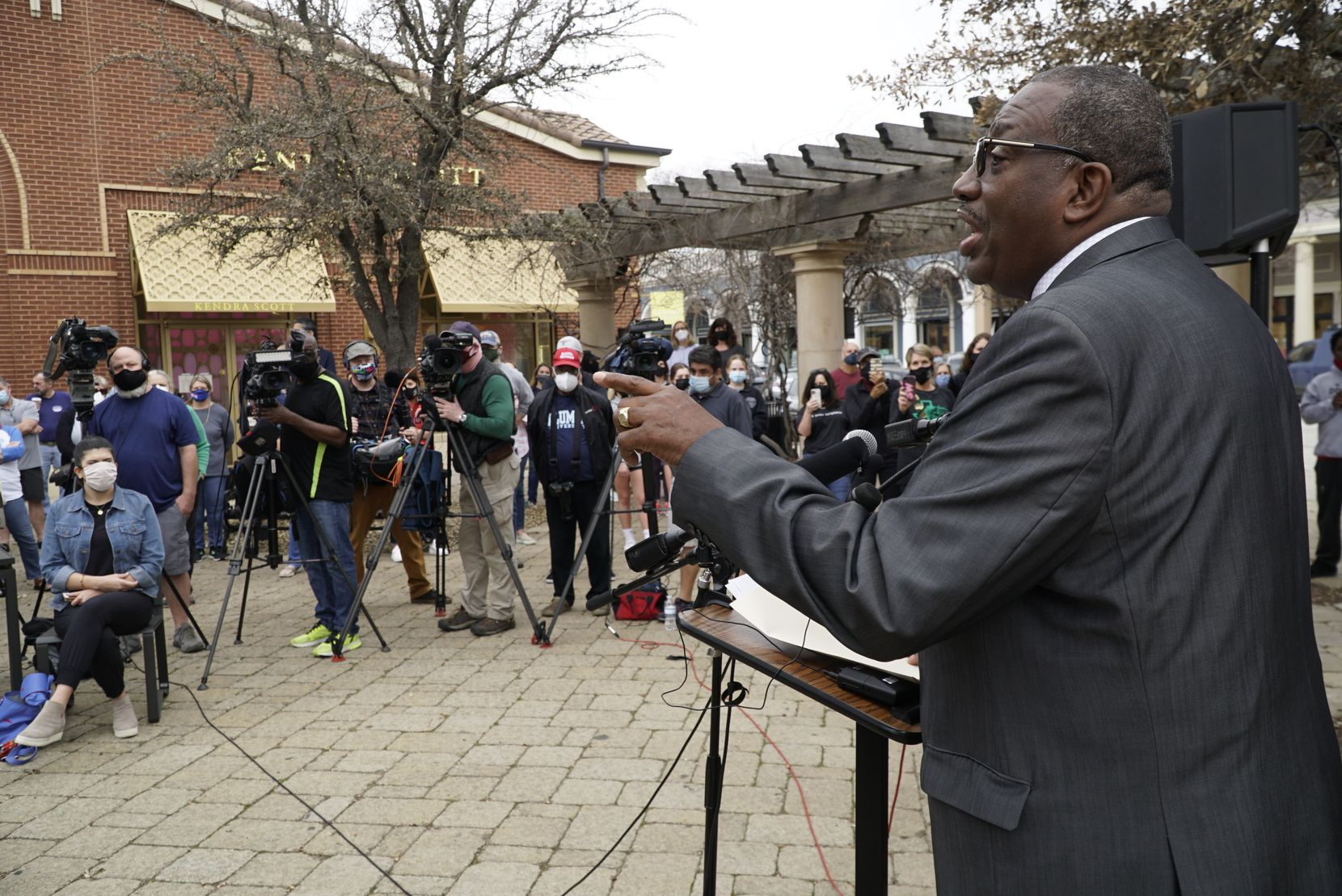 Senator Royce West speaks during a press conference about diversity in the school district in Southlake, Texas on Friday February 12, 2021.