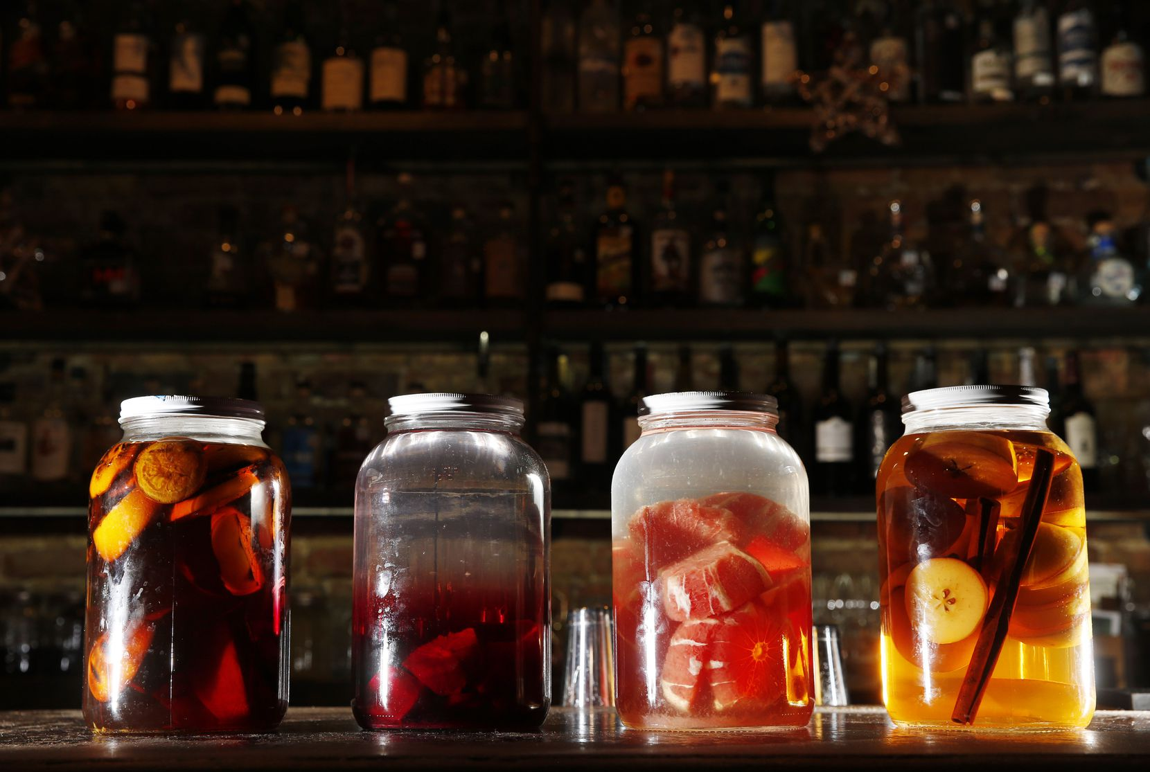Infused alcohols at Harvest Seasonal Kitchen in McKinney