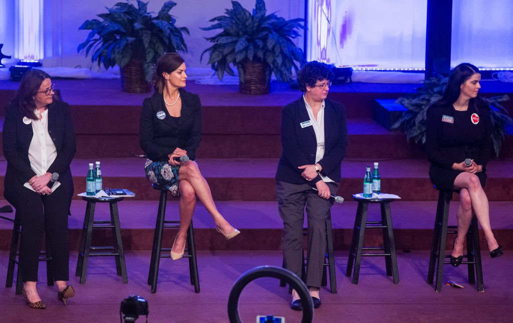 """From left: Paula Blackmon, Tamara """"Tami"""" Brown Rodriquez, Erin Moore and Sarah Lamb took part in a Dallas City Council District 9 candidates forum at Lake Highlands Baptist Church on April 4."""