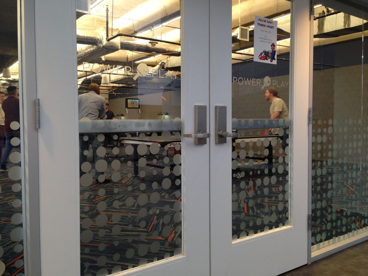 """The """"Power Play"""" ping pong room in RealPage's Richardson headquarters."""