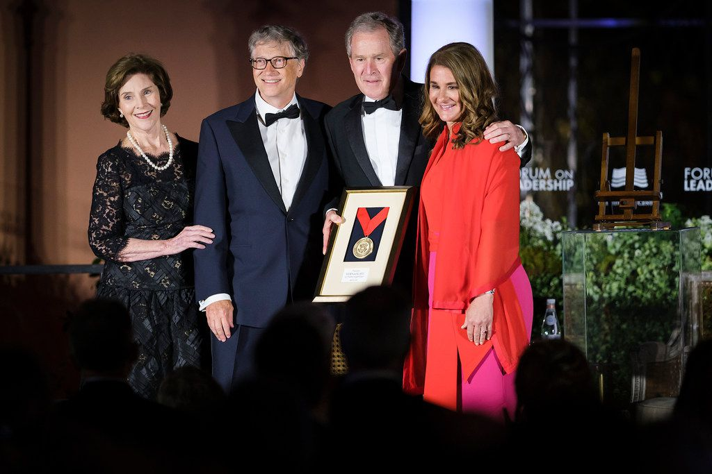 Bill and Melinda Gates received the George W. Bush Medal for Distinguished Leadership award from President George W. Bush and Laura Bush during the George, W. Bush Presidential Center's 2019 Forum on Leadership Gala at the Rosewood Mansion on Turtle Creek on April 11, 2019.