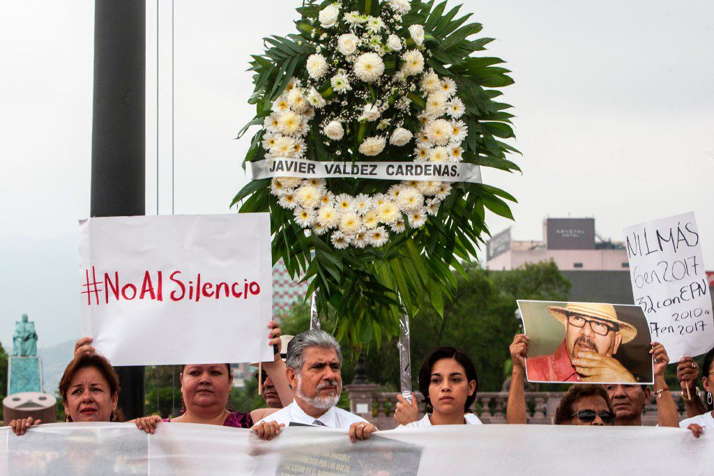 Journalists from the state of Nuevo Leon and members of civic organizations protest the murder of Mexican journalist Javier Valdez.