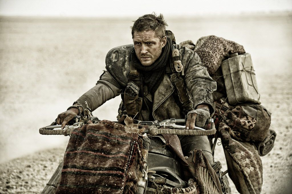 """This photo provided by Warner Bros. Pictures shows Tom Hardy, as Max Rockatansky, in Warner Bros. Pictures' and Village Roadshow Pictures' action adventure film, """"Mad Max:Fury Road,"""" a Warner Bros. Pictures release."""