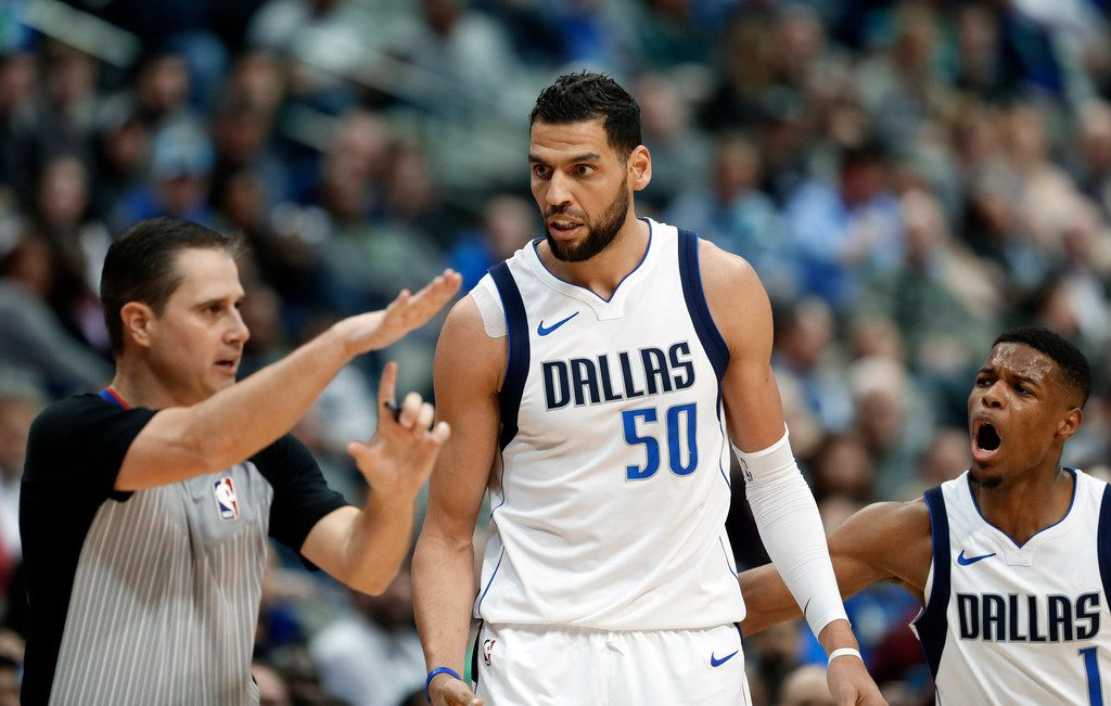Salah Mejri gets T'd up during the third quarter. Two quick technicals got him the automatic ejection for arguing with the refs. (AP Photo/Tony Gutierrez)