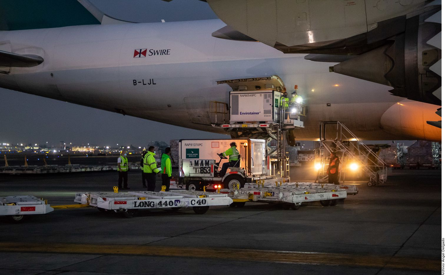 Un millón de dosis de la vacuna de Sinovac contra el Covid-19 arribaron el 17 de marzo al Aeropuerto Internacional de la Ciudad de México provenientes de China.