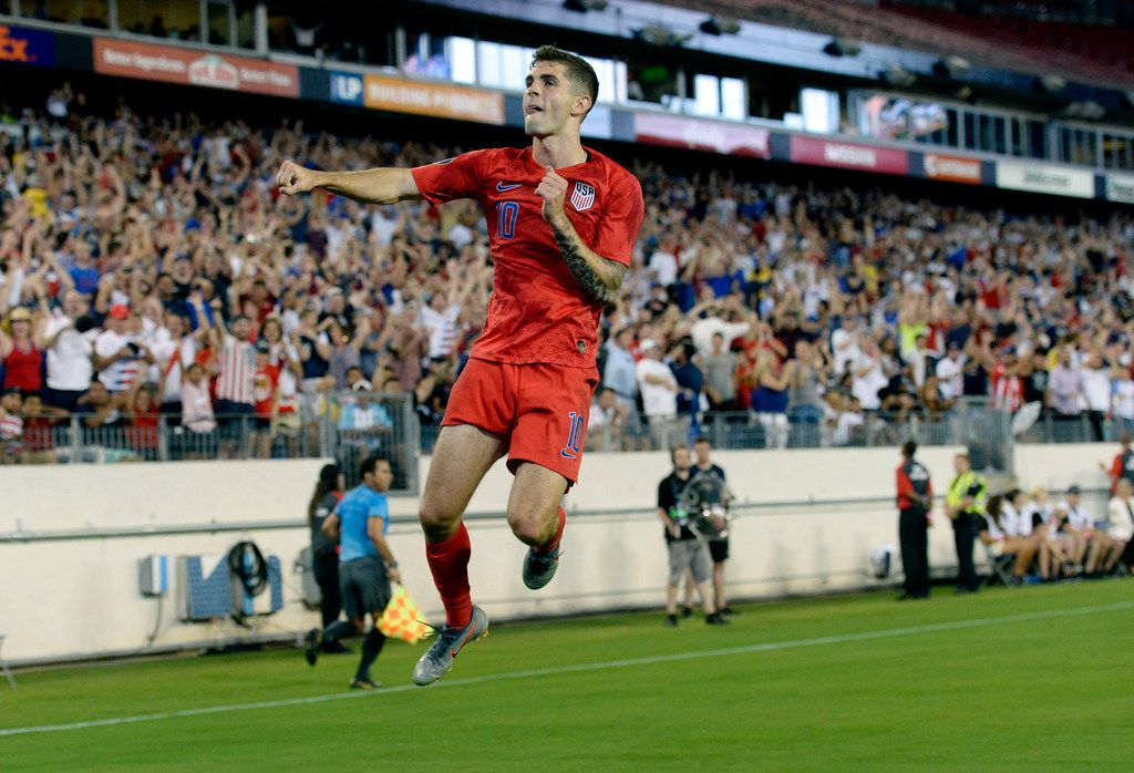United States midfielder Christian Pulisic celebrates after scoring a goal against Jamaica during the second half of a CONCACAF Gold Cup semifinal soccer match Wednesday, July 3, 2019, in Nashville, Tenn. The United States won 3-1. (AP Photo/Mark Zaleski)