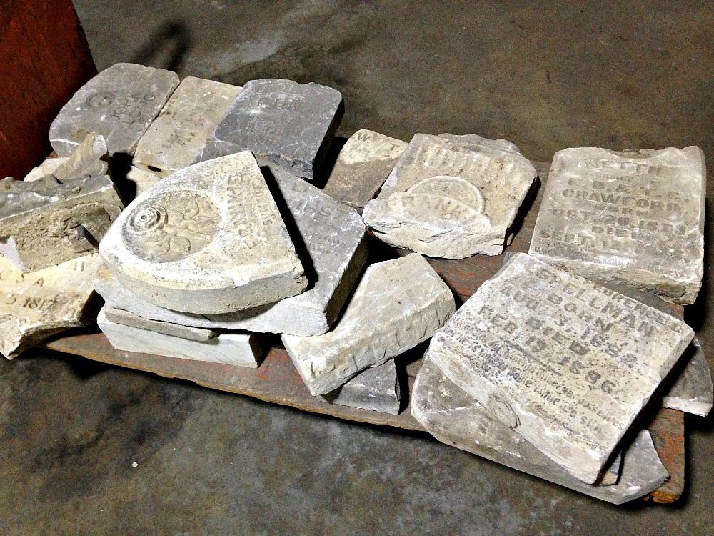 Some of the headstones beneath Dallas City Hall