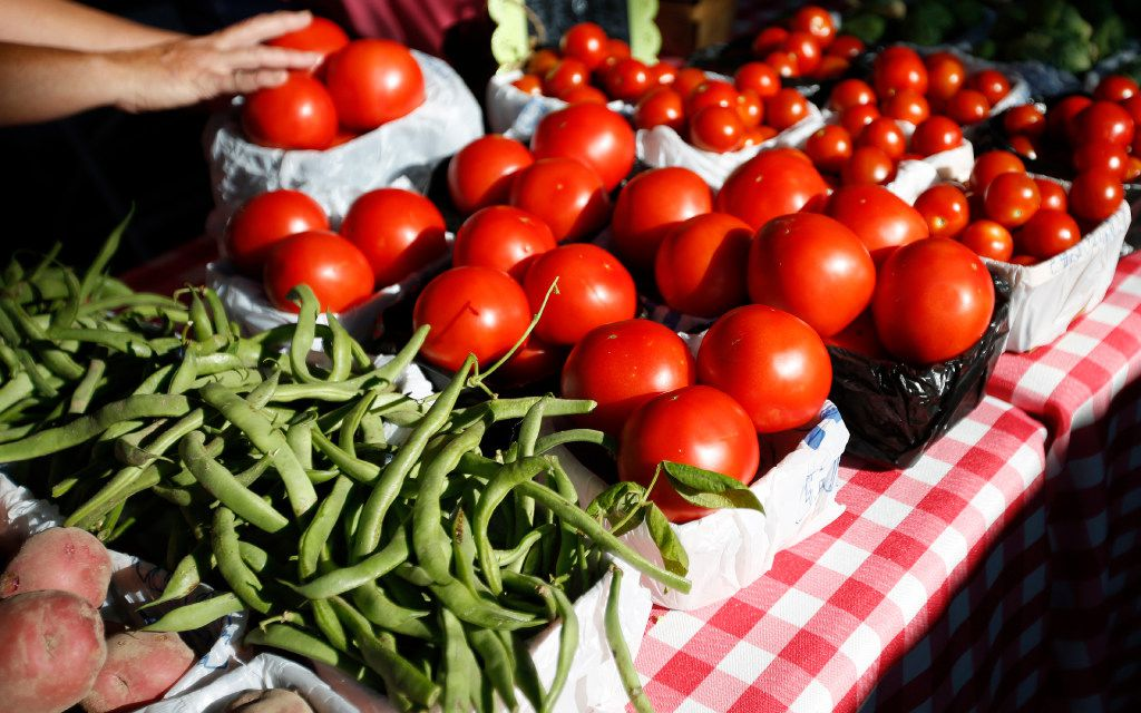 Tomatoes, green beans and potatoes from Baugh Farms at the McKinney Farmers Market.