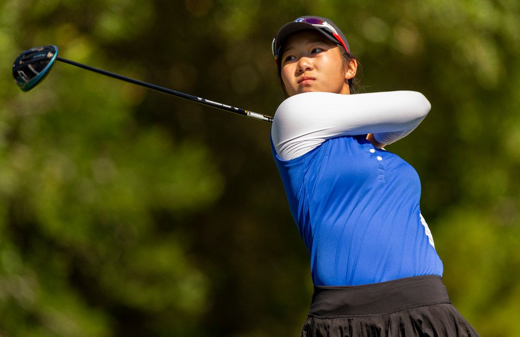 Midlothian's Tiffany Cao hits from the 17th tee box during round 1 of the UIL Class 5A girls golf tournament in Georgetown, Monday, May 13, 2019.