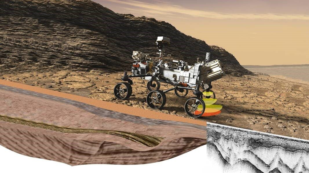 Illustration of Perseverance's RIMFAX instrument that is part of NASA's Mars 2020 mission. This ground-penetrating radar is making subsurface measurements while the rover drives along Mars. SMU professor Matthew Siegler wants to use this instrument to make subsurface temperature measurements.