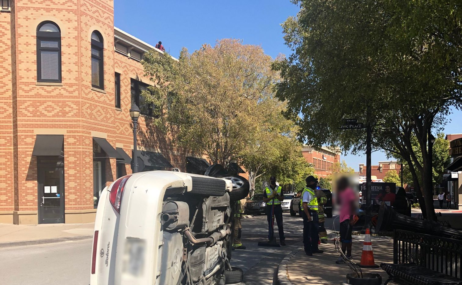 No one was hurt after a driver overturned their car in Southlake Town Square on Wednesday.