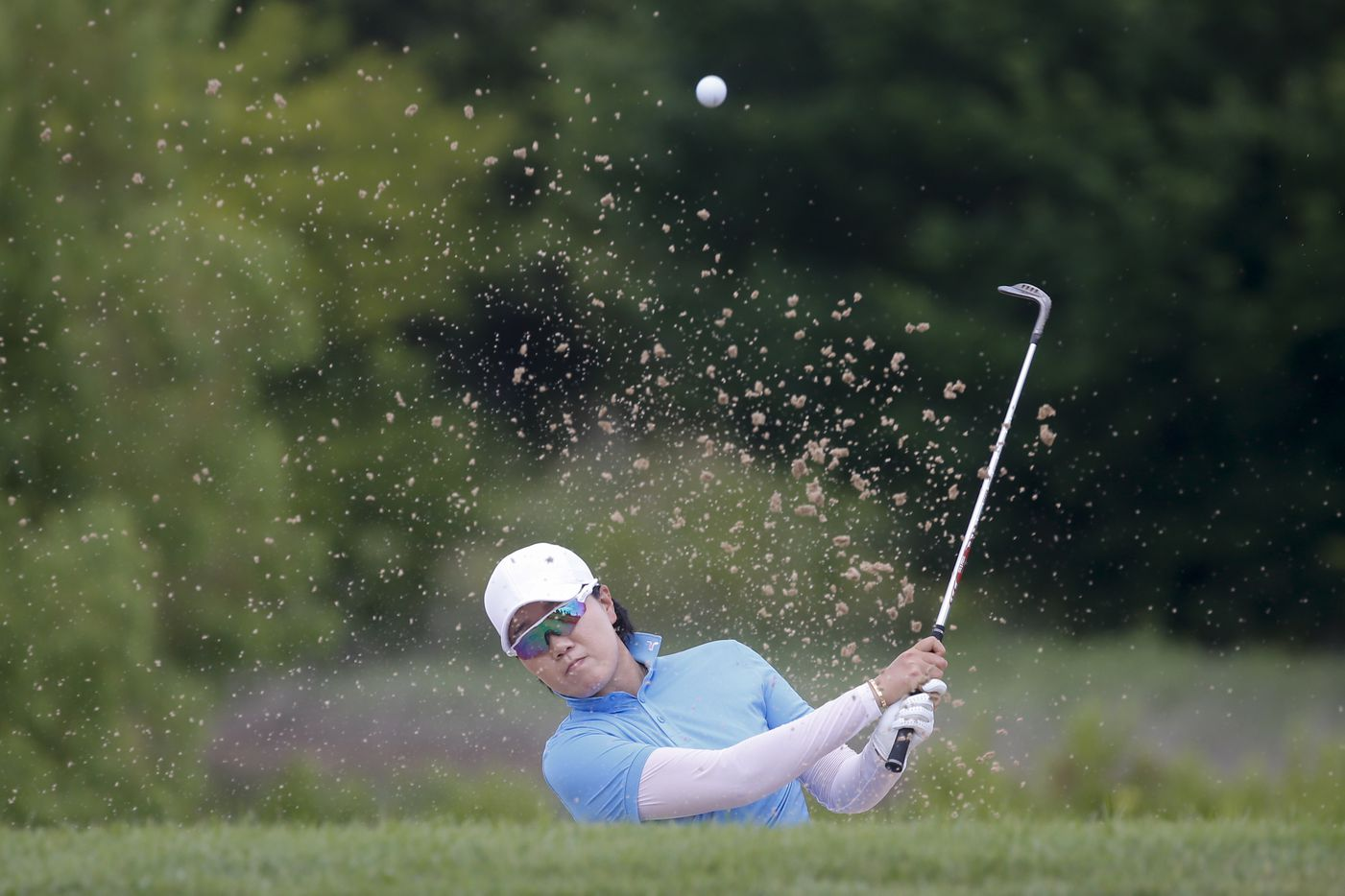 Professional golfer Jeongeun Lee plays out of the No. 9 fairway side bunker during the second round of the LPGA VOA Classic on Friday, July 2, 2021, in The Colony, Texas. (Elias Valverde II/The Dallas Morning News)