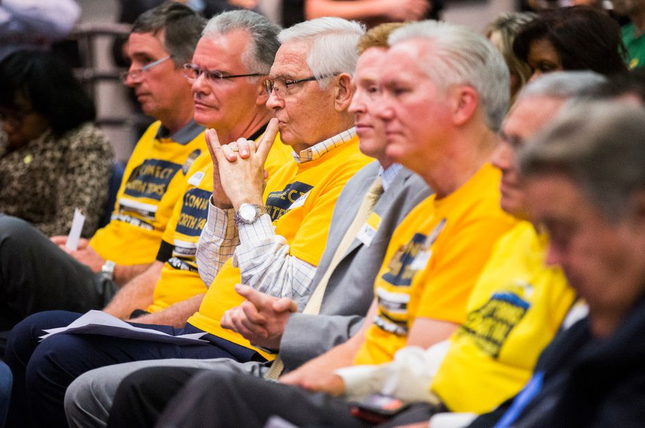 Addison City Council members listened during public comment before the board of the Dallas Area Rapid Transit voted on a rail corridor plan on Tuesday. (Ashley Landis/The Dallas Morning News)