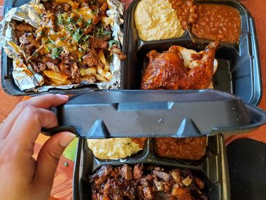 Barbecue plates from Bouttyme Bbq, a new food truck in Irving.