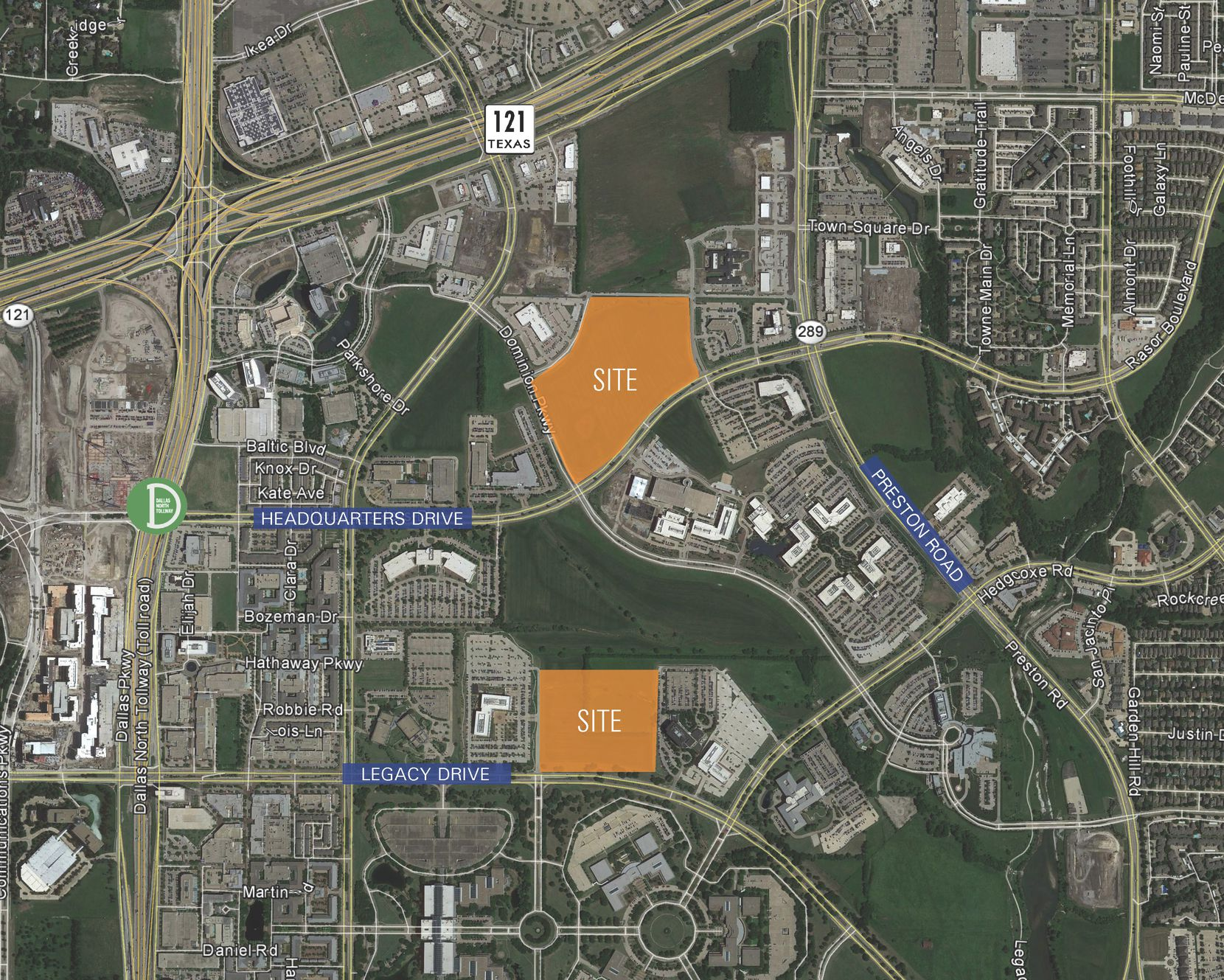 The properties for sale are east of the Dallas North Tollway in Legacy business park.