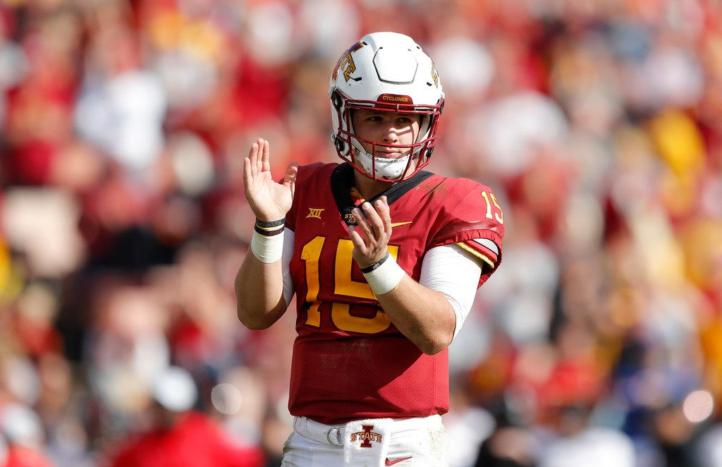 FILE - In this Oct. 27, 2018, file photo, Iowa State quarterback Brock Purdy reacts at the end of an NCAA college football game against Texas Tech, in Ames, Iowa. By claiming the  starting job as a true freshman, Purdy has thrown Iowa State's quarterback situation into flux. (AP Photo/Charlie Neibergall, File)