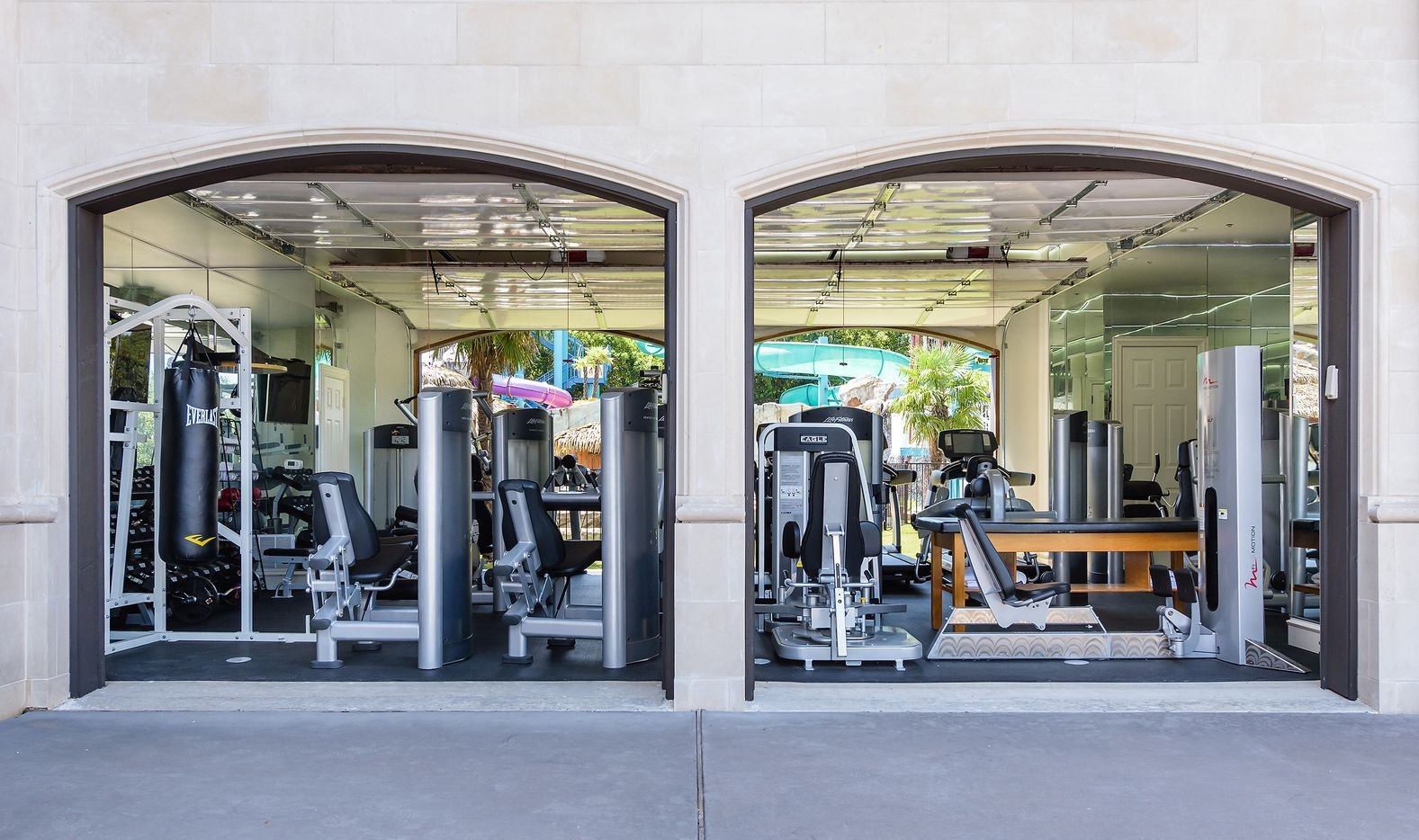 The house includes a fitness center.