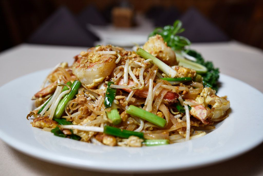 Shrimp pad Thai from Family Thais Asian Bistro in Downtown Dallas, April 24, 2019. Ben Torres/Special Contributor