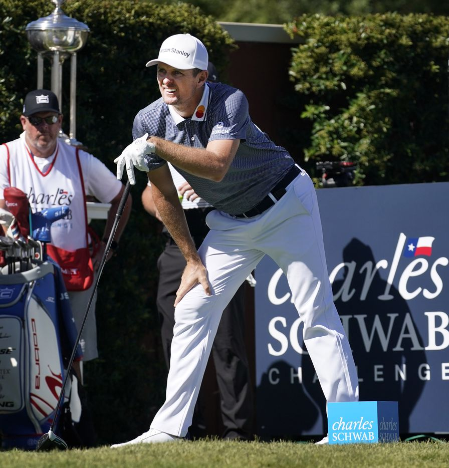PGA Tour golfer Justin Rose watches his drive on No. 1 during the opening round of the Charles Schwab Challenge at the Colonial Country Club in Fort Worth, Thursday, June 11, 2020.  The Challenge is the first tour event since the COVID-19 pandemic began. (Tom Fox/The Dallas Morning News)
