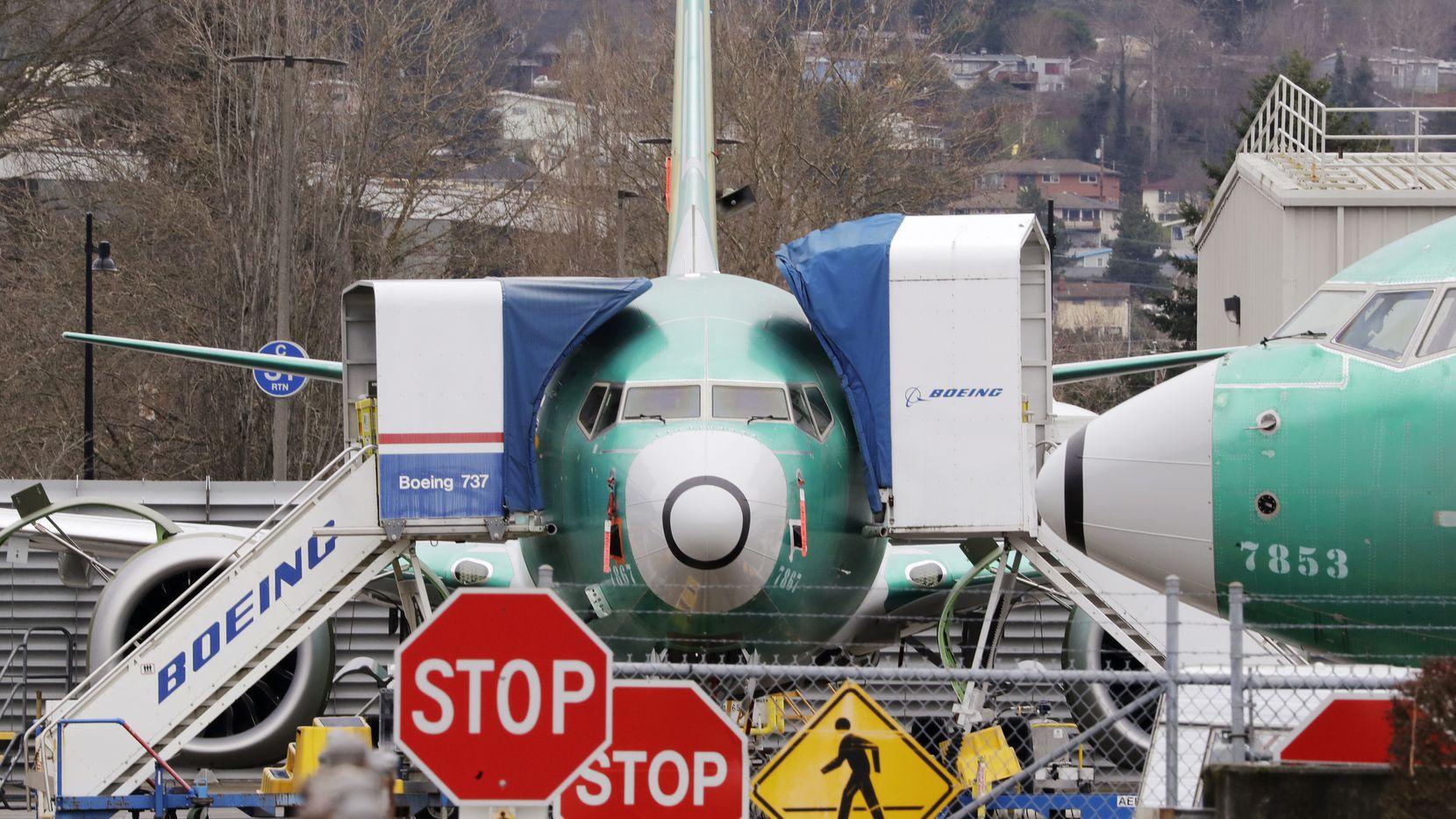 Boeing 737 Max jets sit parked in Renton, Wash., in 2019.