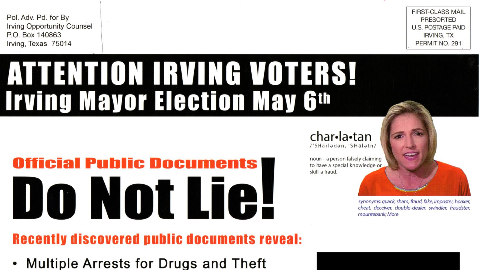 The front side of a political mailer from May 2017 that Dallas Morning News Watchdog Dave Lieber calls the most dishonest he's ever seen.