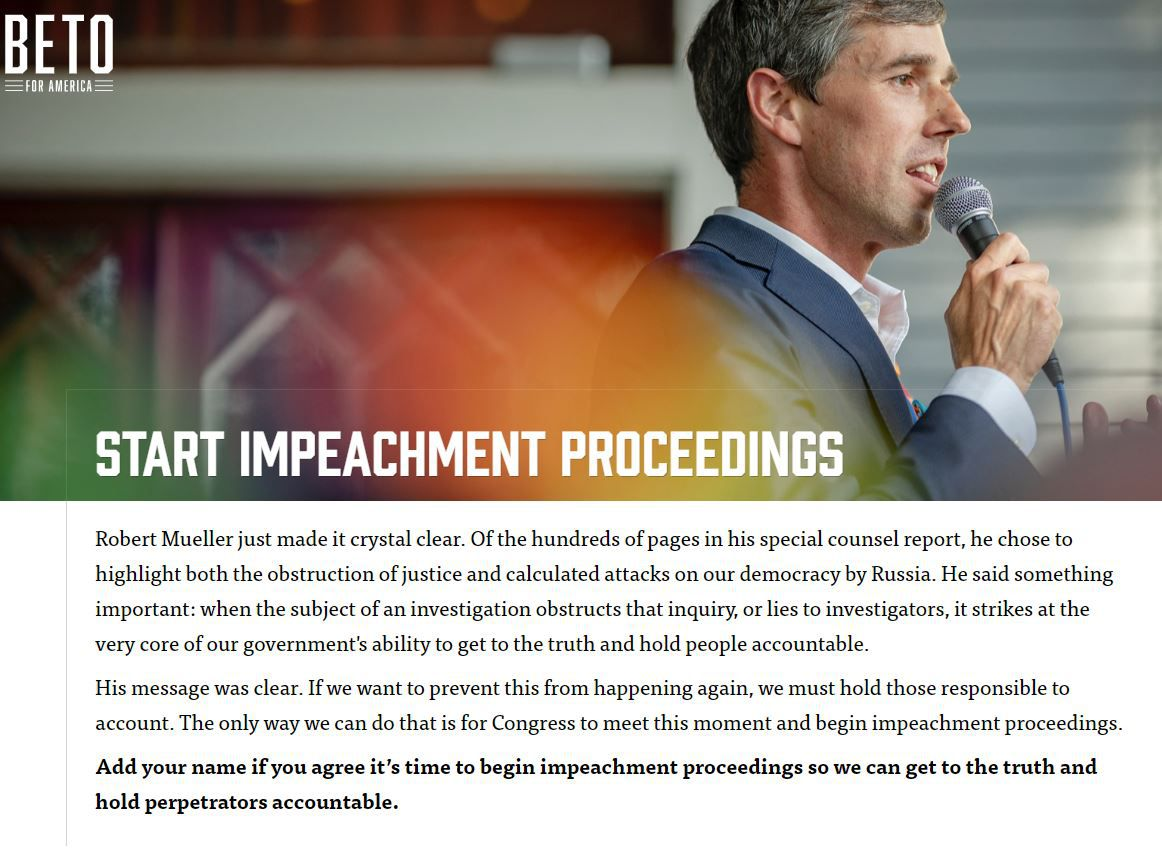 A page on the O'Rourke campaign site asks supporters to sign if they support impeachment.